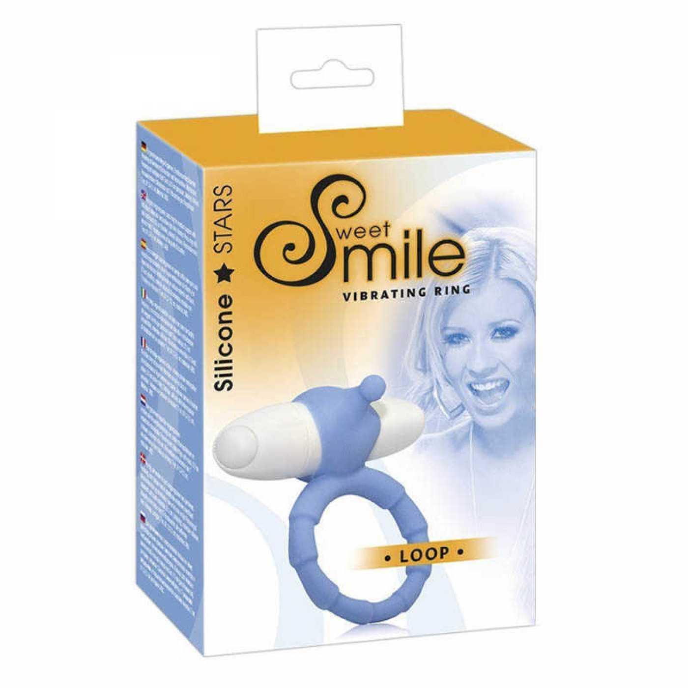 Насадка-кольцо для пениса с вибрацией Loop голубое