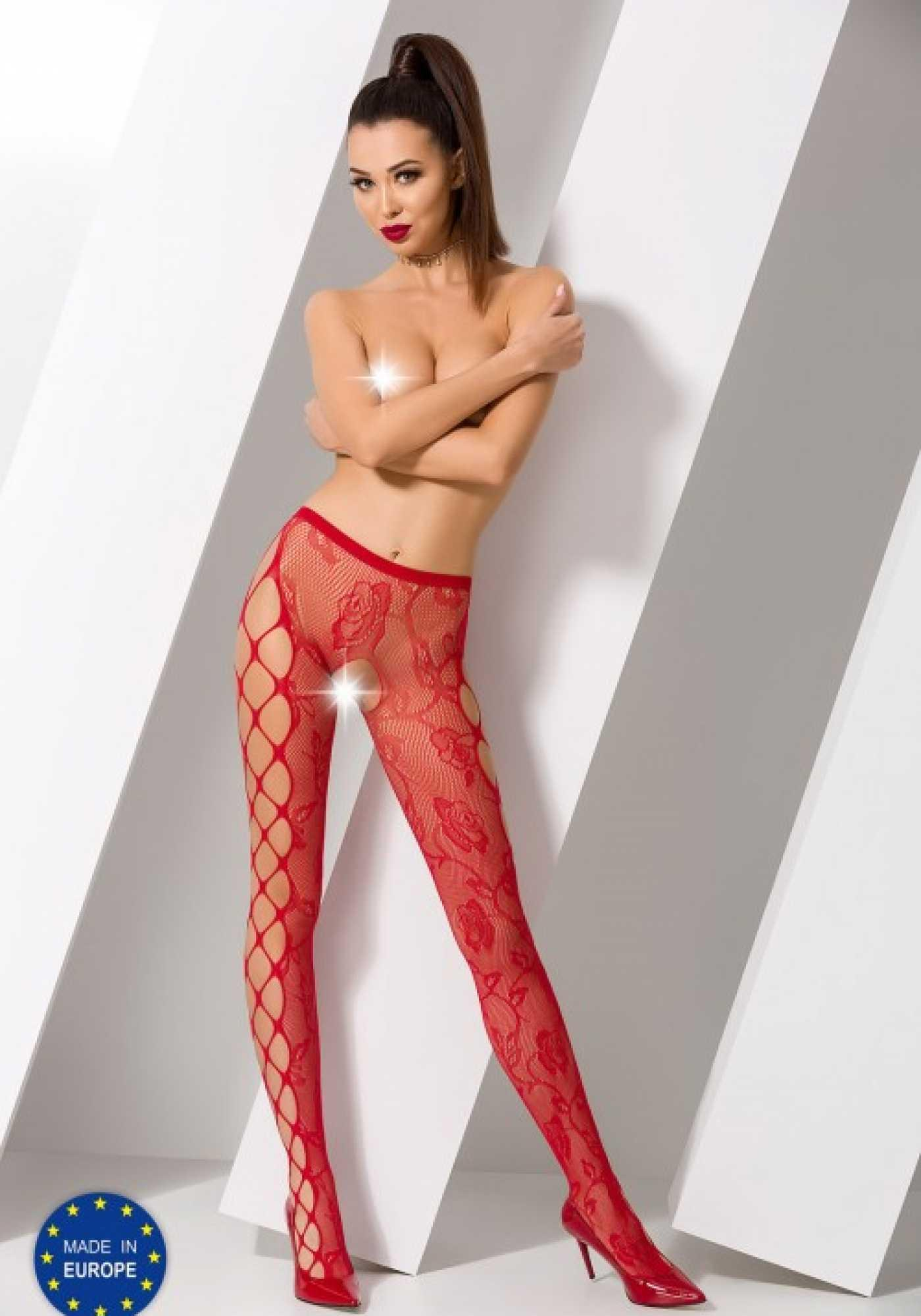 Колготки красные с крупной сеткой побокам и с доступом