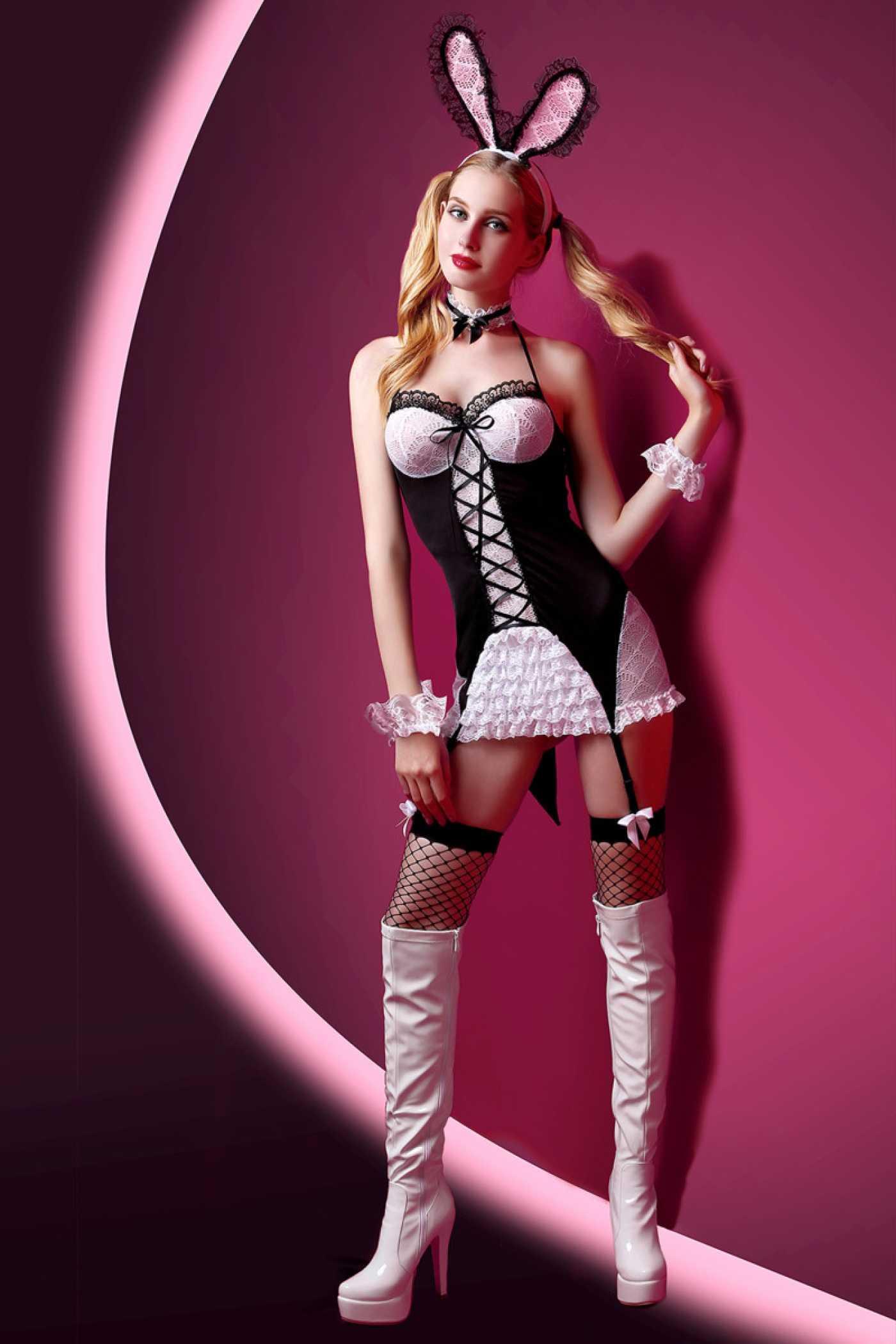 Костюм зайки Candy Girl (платье с пажами,трусы,головной убор,галстук,чулки,манжеты)