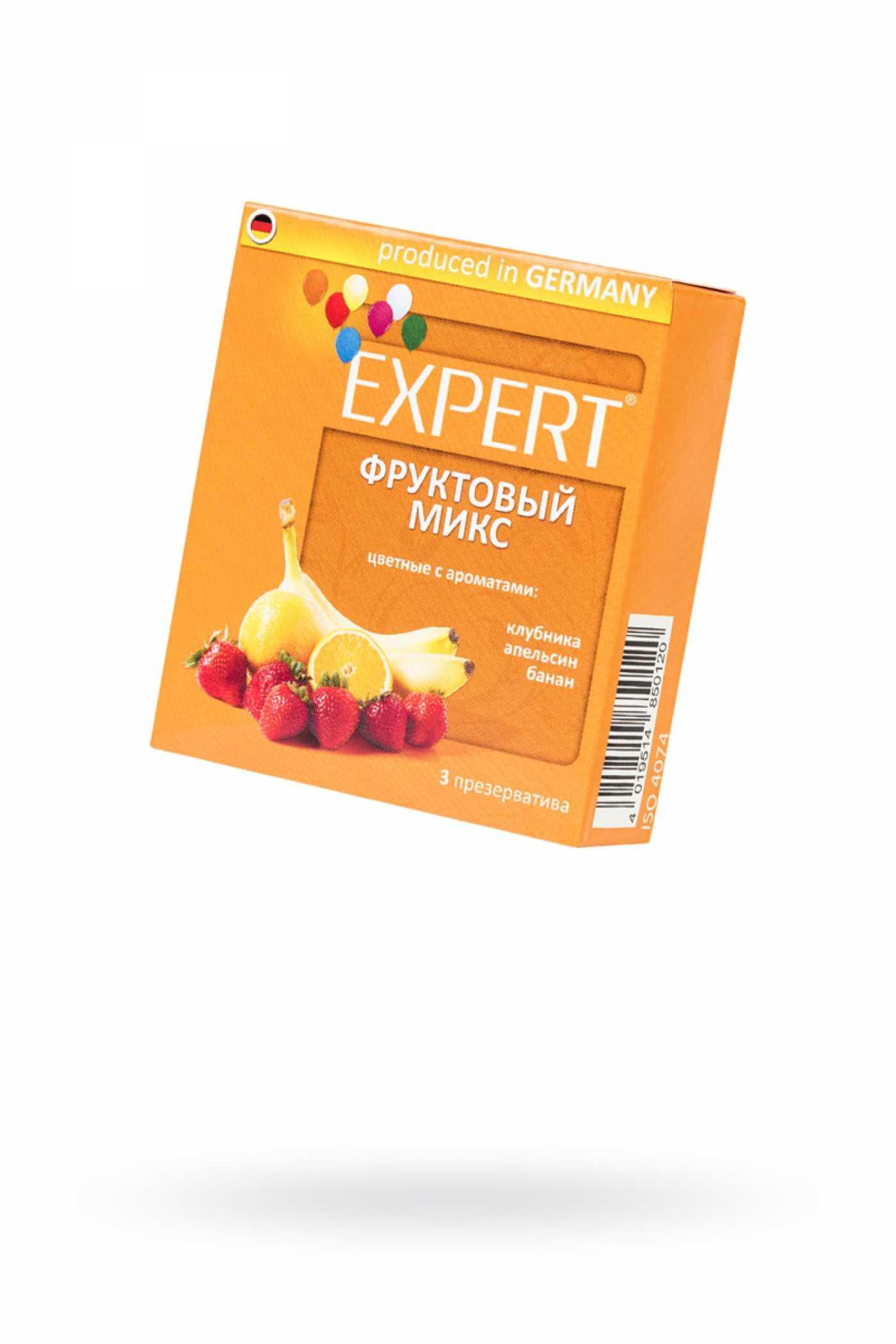 """Презервативы Expert """"Фруктовый микс"""" клубника,апельсин,банан 3 шт"""