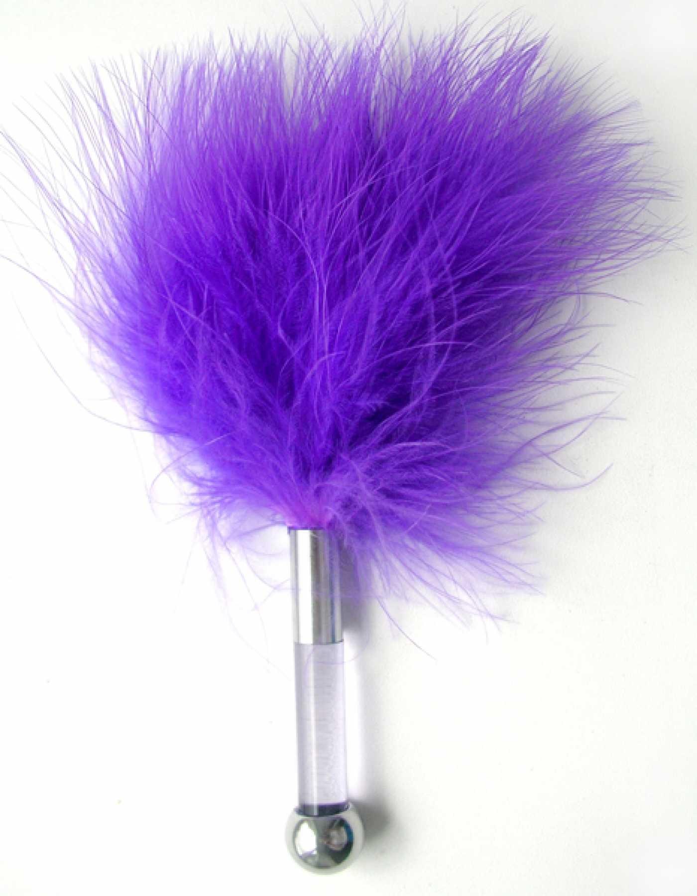 Щекоталка с перьями фиолетовая 17 см