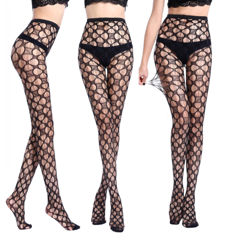 Женские черные ажурные сексуальные колготки в сеточку