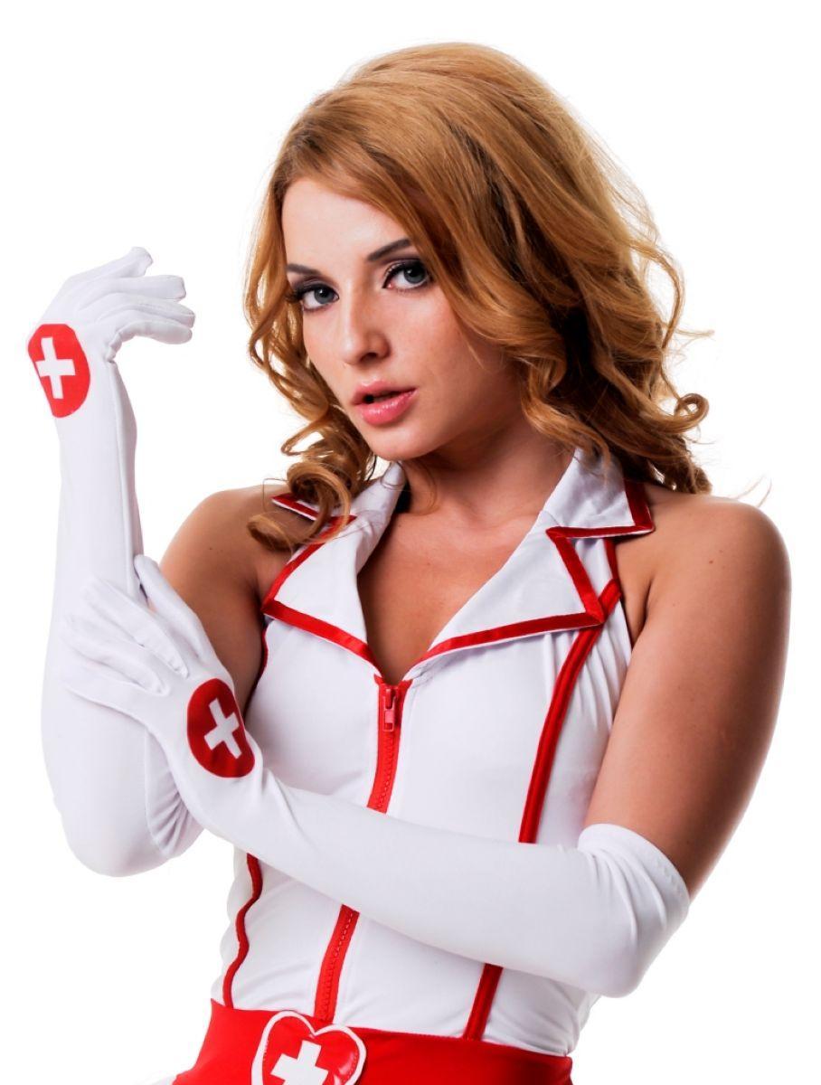 Перчатки медсестры длинные