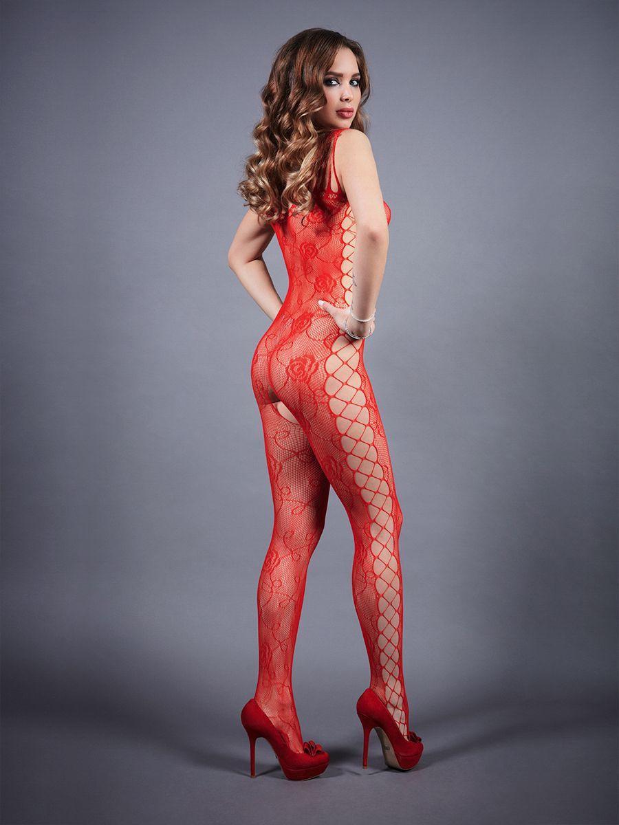 Боди-комбинезон красный с боковой полосой S-L