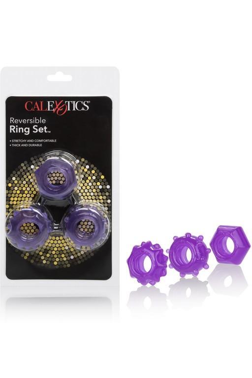 Набор колец на пенис из силикона Reversible Ring Set-PURPLE