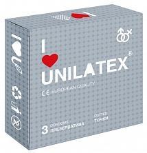 """Презервативы UNILATEX """"DOTTED"""" с точечной поверхностью, 3 шт."""